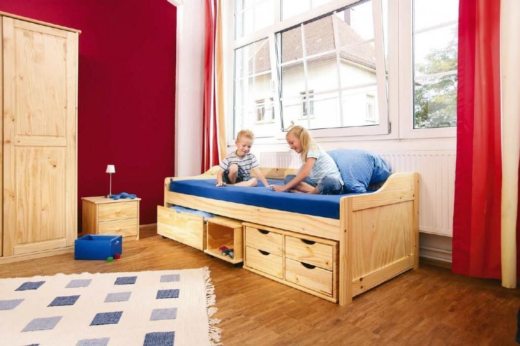 jugendbett maxima 90x200 kiefer massiv natur lackiert mit schubladen. Black Bedroom Furniture Sets. Home Design Ideas