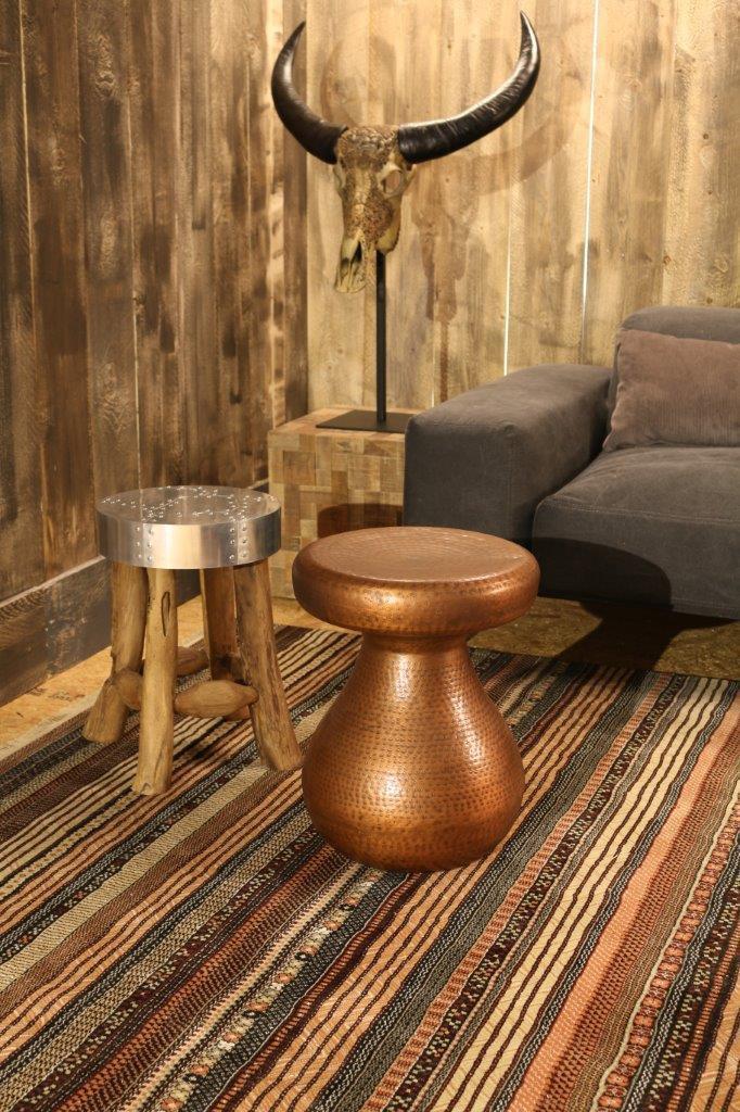 runder design beistelltisch antique copper von zuiver. Black Bedroom Furniture Sets. Home Design Ideas