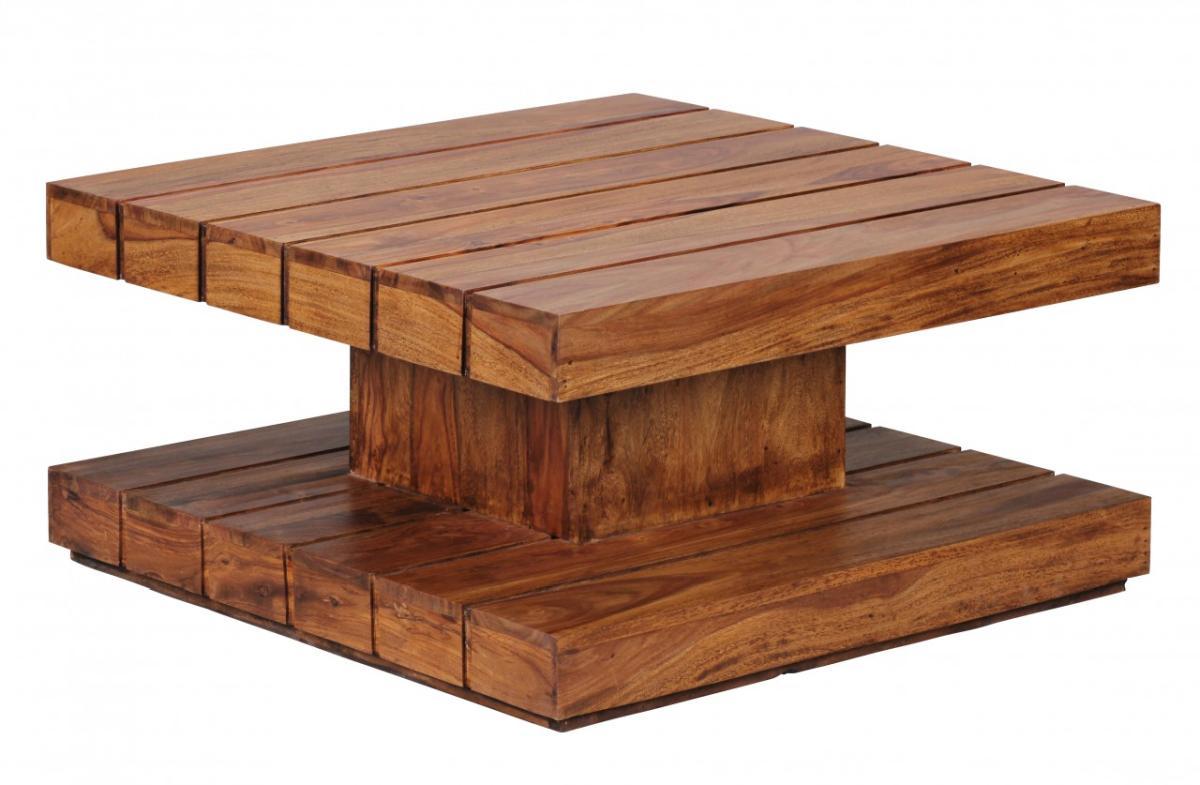 Design Couchtisch Massivholz Asymmetrisch Wohnzimmer