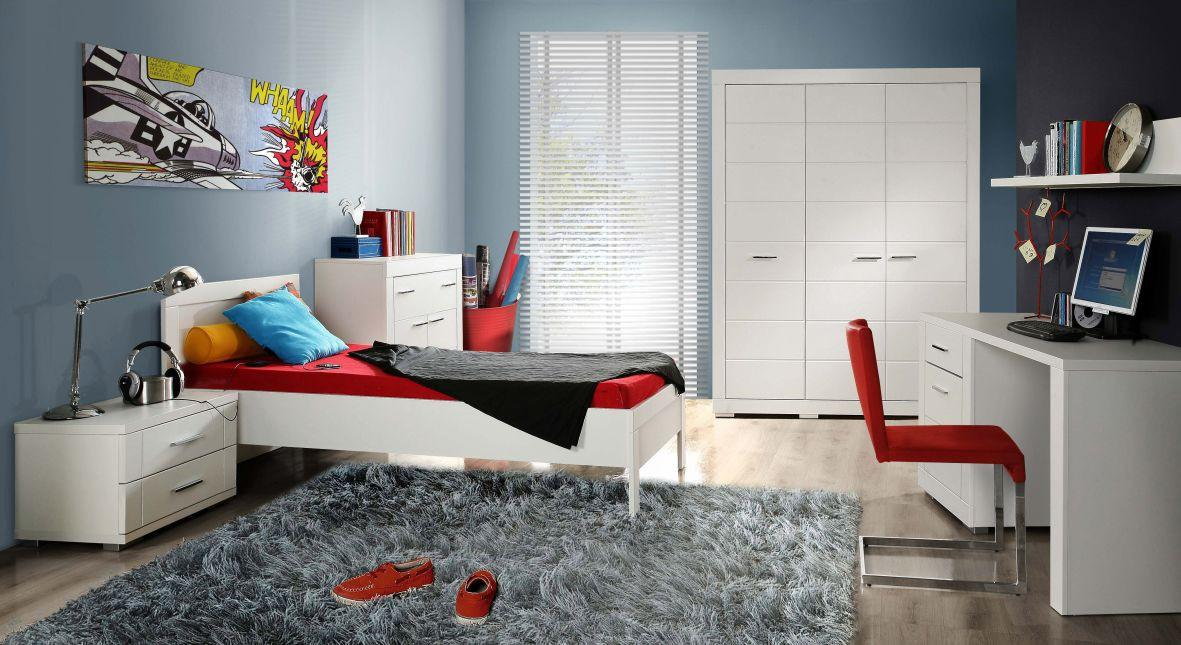 jugendzimmer snow komplett set 6 tlg bett 90 cm wei. Black Bedroom Furniture Sets. Home Design Ideas