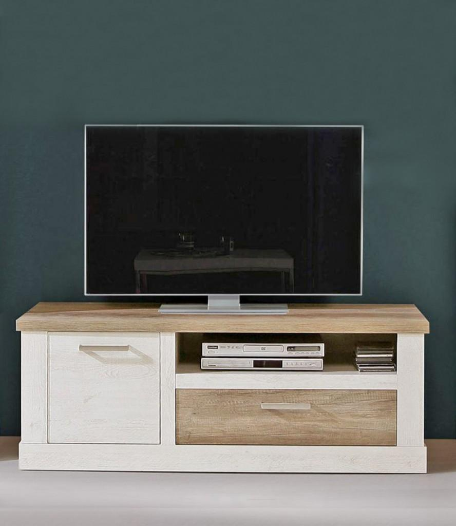 lowboard duro tv board mit ger tefach dekor pinie wei antik. Black Bedroom Furniture Sets. Home Design Ideas