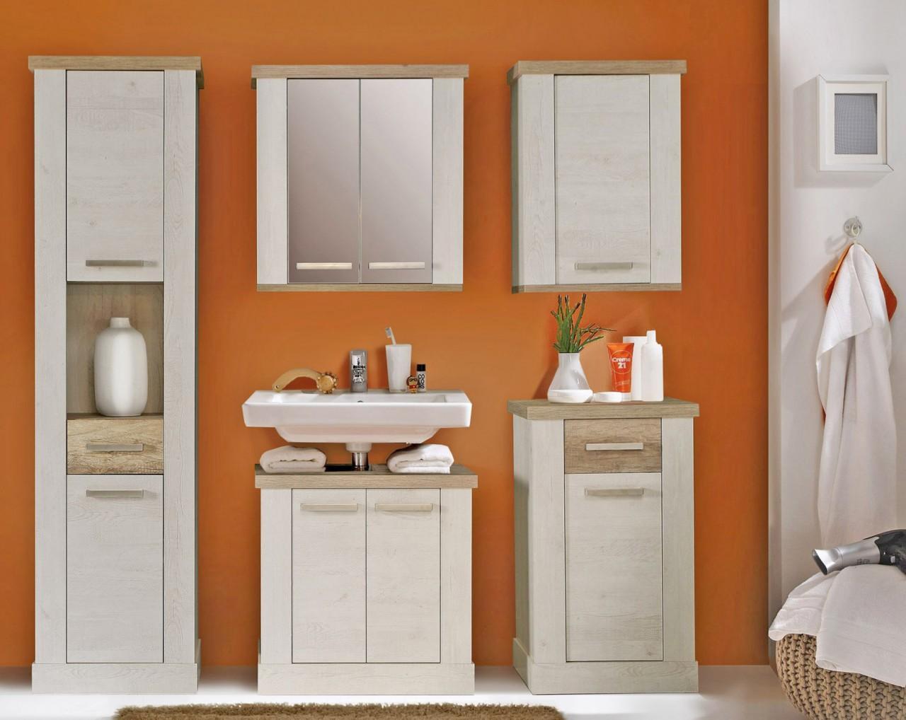 badezimmer hochschrank duro badschrank 2 trg pinie wei eiche. Black Bedroom Furniture Sets. Home Design Ideas