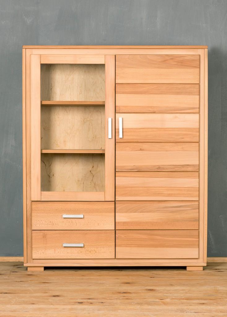 highboard vitrine genf 2 t rig kernbuche massivholz ge lt gewachst. Black Bedroom Furniture Sets. Home Design Ideas