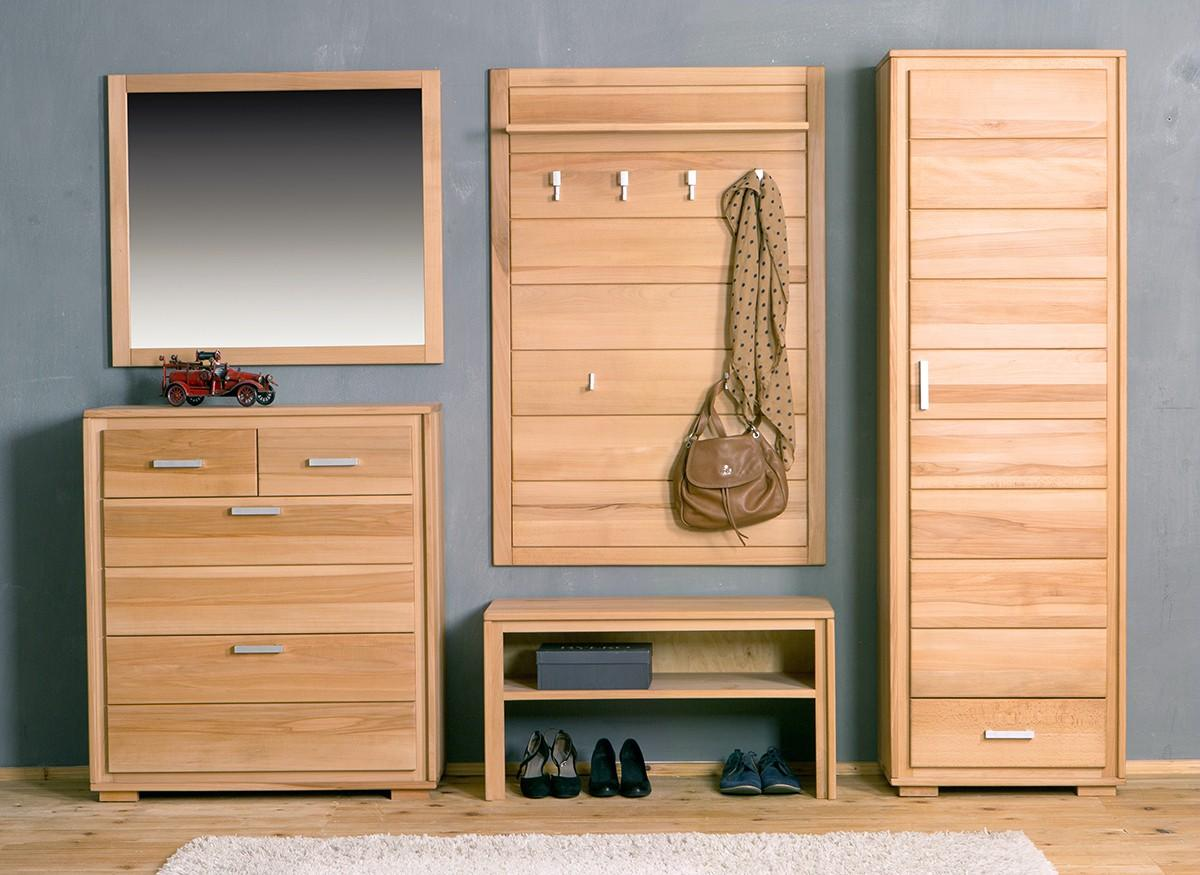 garderoben set genf i kernbuche massivholz ge lt gewachst 5 teilig. Black Bedroom Furniture Sets. Home Design Ideas
