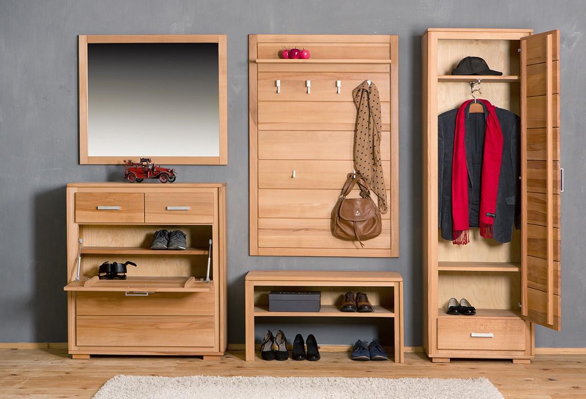 garderoben set genf i kernbuche massivholz ge lt gewachst 5 teilig. Black Bedroom Furniture Sets. Home Design Ideas