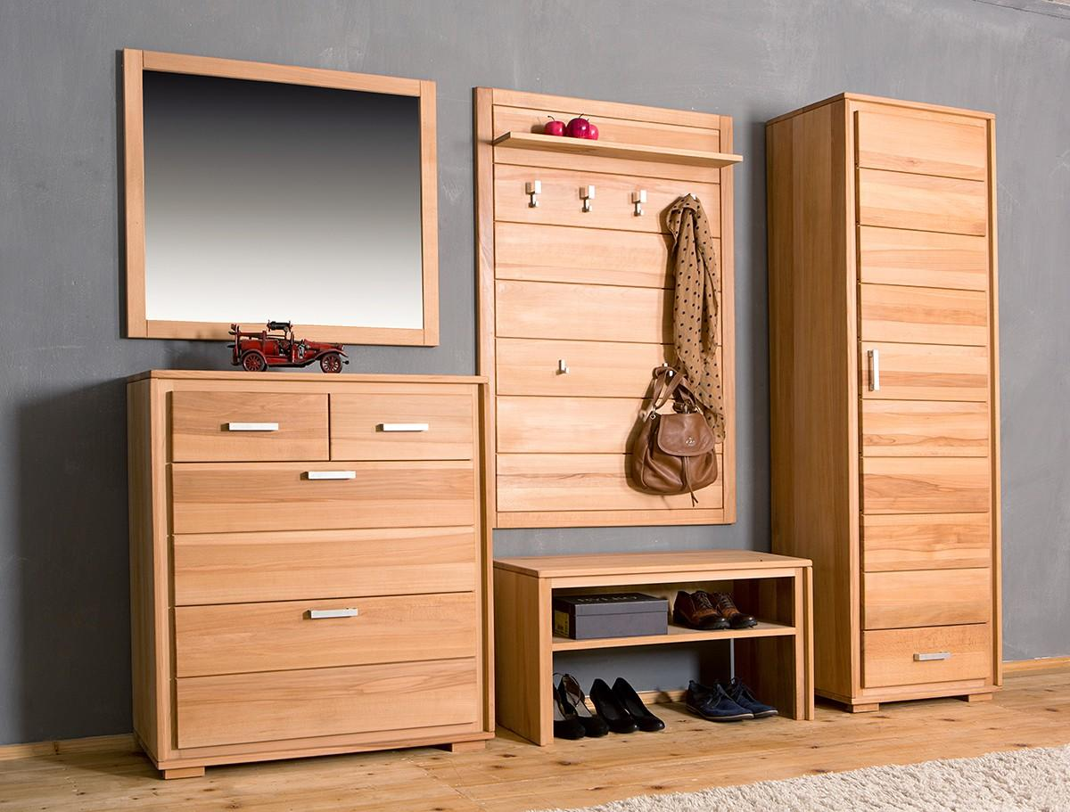 garderoben set genf i kernbuche massivholz ge lt gewachst. Black Bedroom Furniture Sets. Home Design Ideas