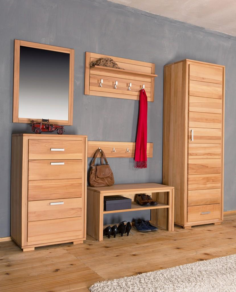garderoben set genf iii kernbuche massivholz ge lt gewachst 6 teilig. Black Bedroom Furniture Sets. Home Design Ideas
