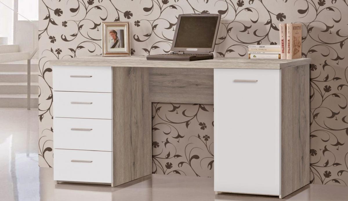 Schreibtisch net 145 cm b rotisch dekor sandeiche weiss for Schreibtisch net