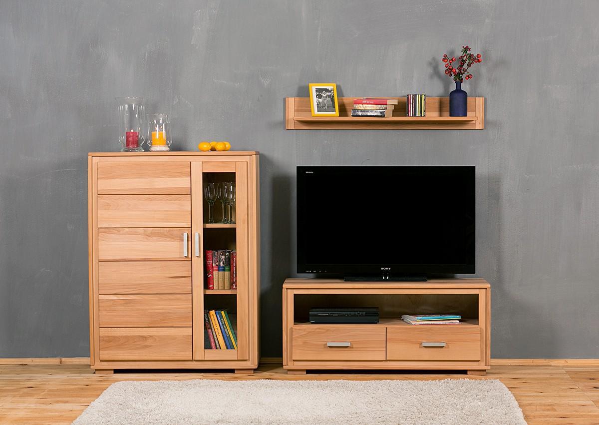 wohnwand genf set ii kernbuche massivholz ge lt gewachst 3 teilig. Black Bedroom Furniture Sets. Home Design Ideas