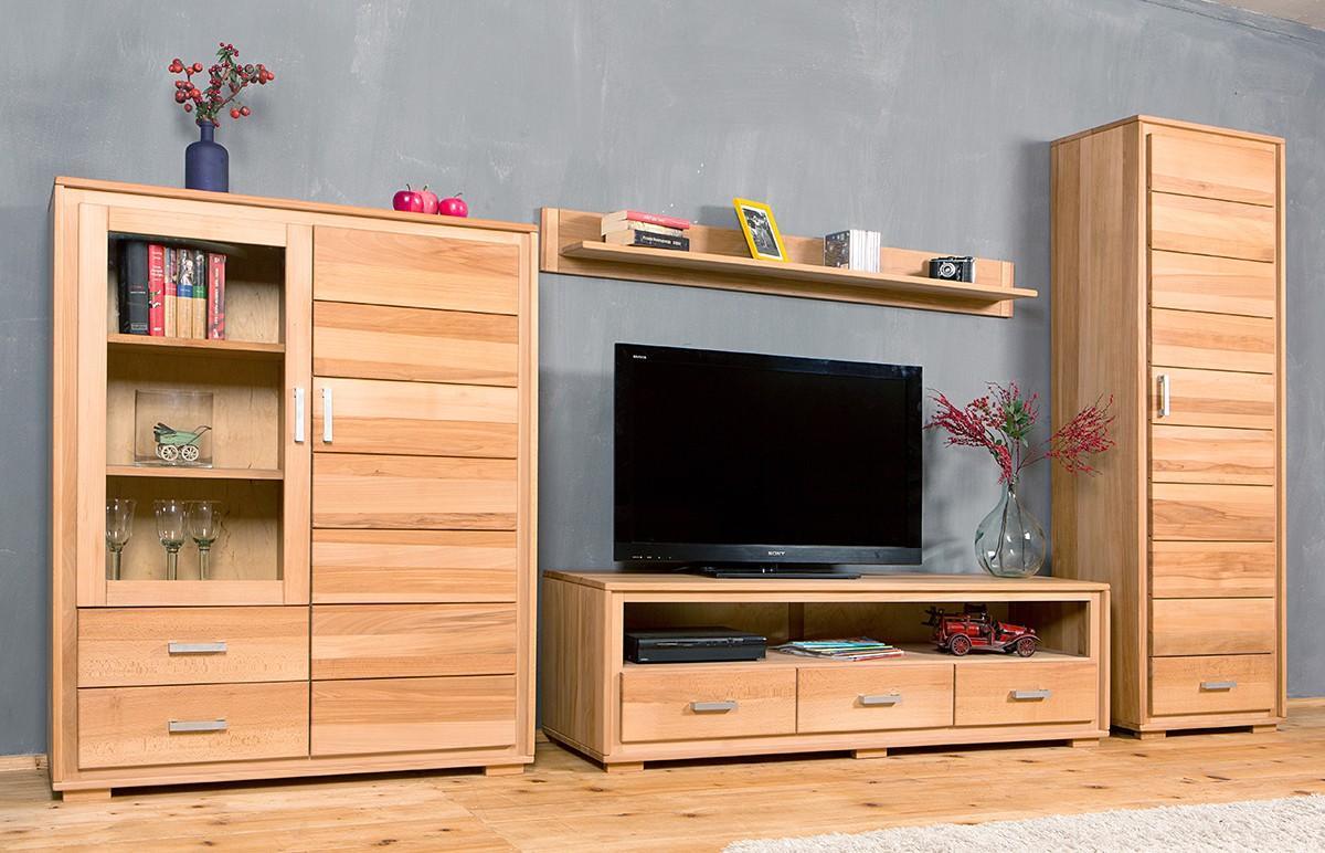 wohnwand genf set vi kernbuche massivholz ge lt gewachst 4. Black Bedroom Furniture Sets. Home Design Ideas