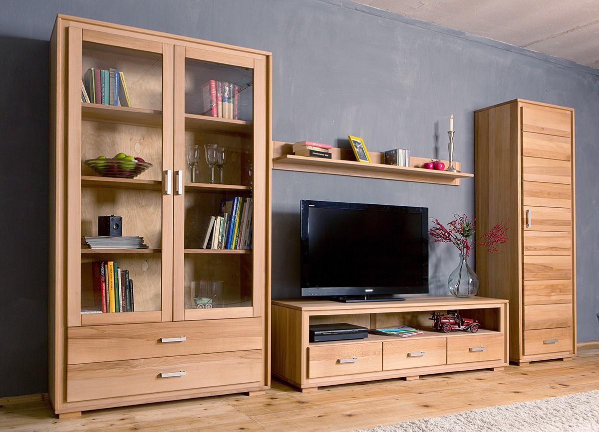 wohnwand genf vii kernbuche massivholz ge lt gewachst 4 teilig. Black Bedroom Furniture Sets. Home Design Ideas