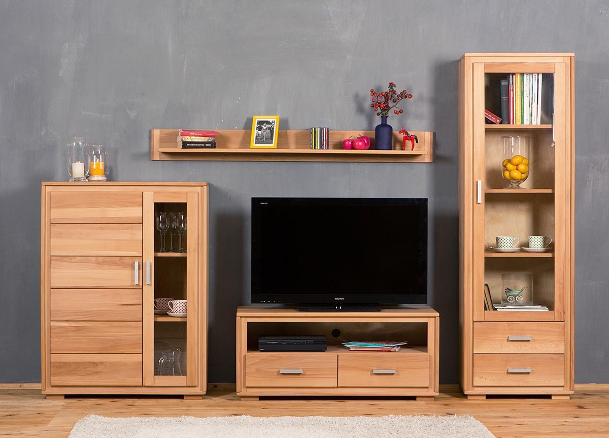 wohnwand genf set ix kernbuche massivholz ge lt gewachst 4. Black Bedroom Furniture Sets. Home Design Ideas