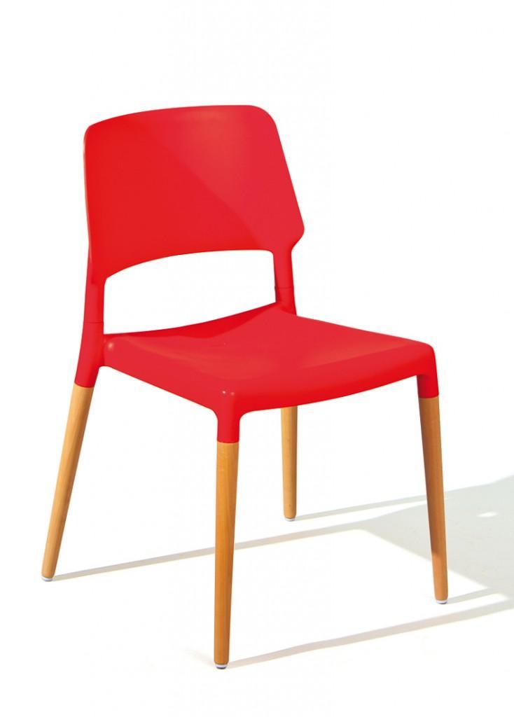 Stuhl Stapelstuhl TILDE 4er-Set Kunststoffsitz Rot Füße Buche