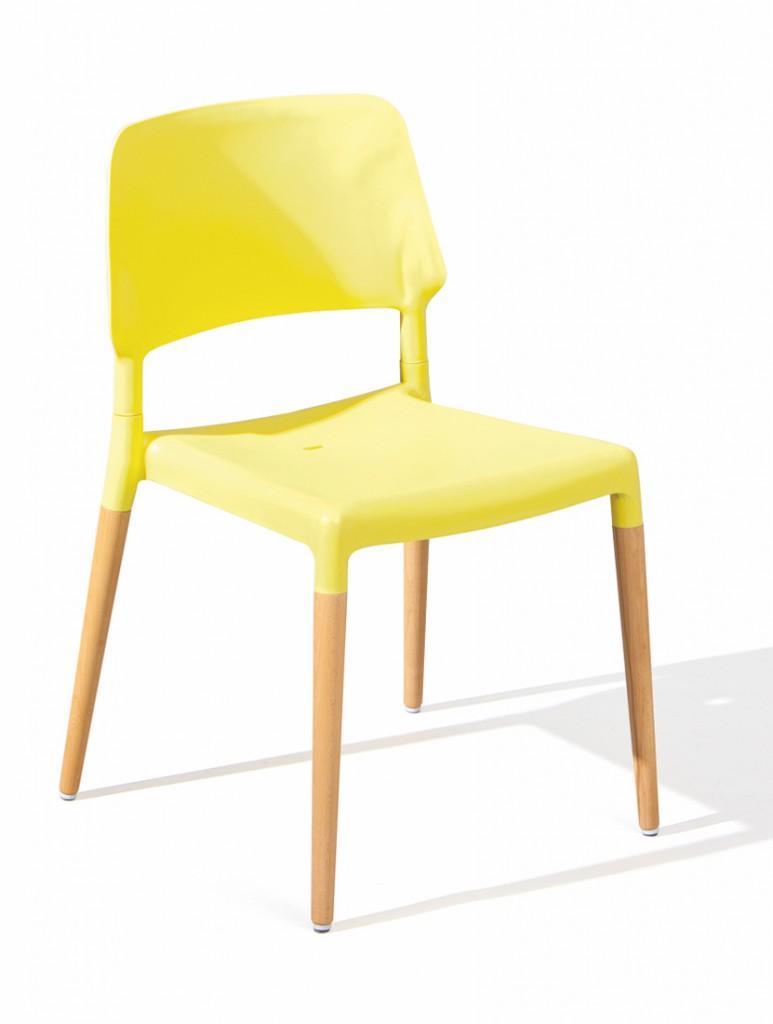 Stuhl Stapelstuhl TILDE 4er-Set Kunststoffsitz Gelb Füße Buche
