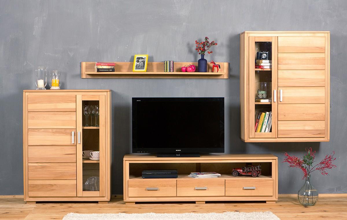 wohnwand genf set x kernbuche massivholz ge lt gewachst 4. Black Bedroom Furniture Sets. Home Design Ideas