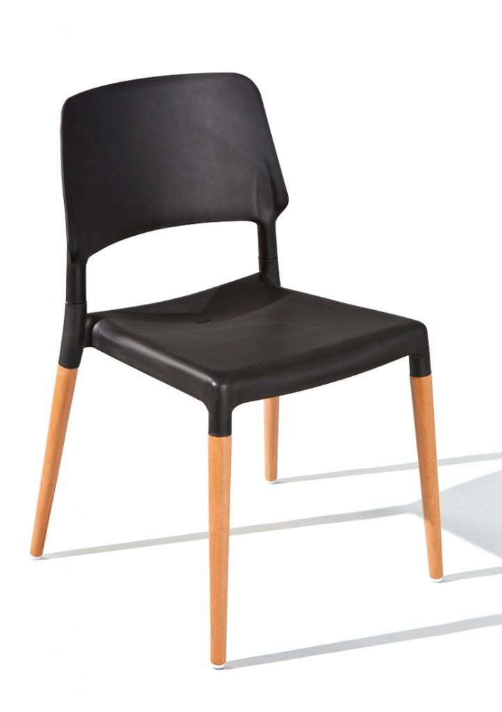Stuhl Stapelstuhl TILDE 4er-Set Kunststoffsitz Schwarz Füße Buche
