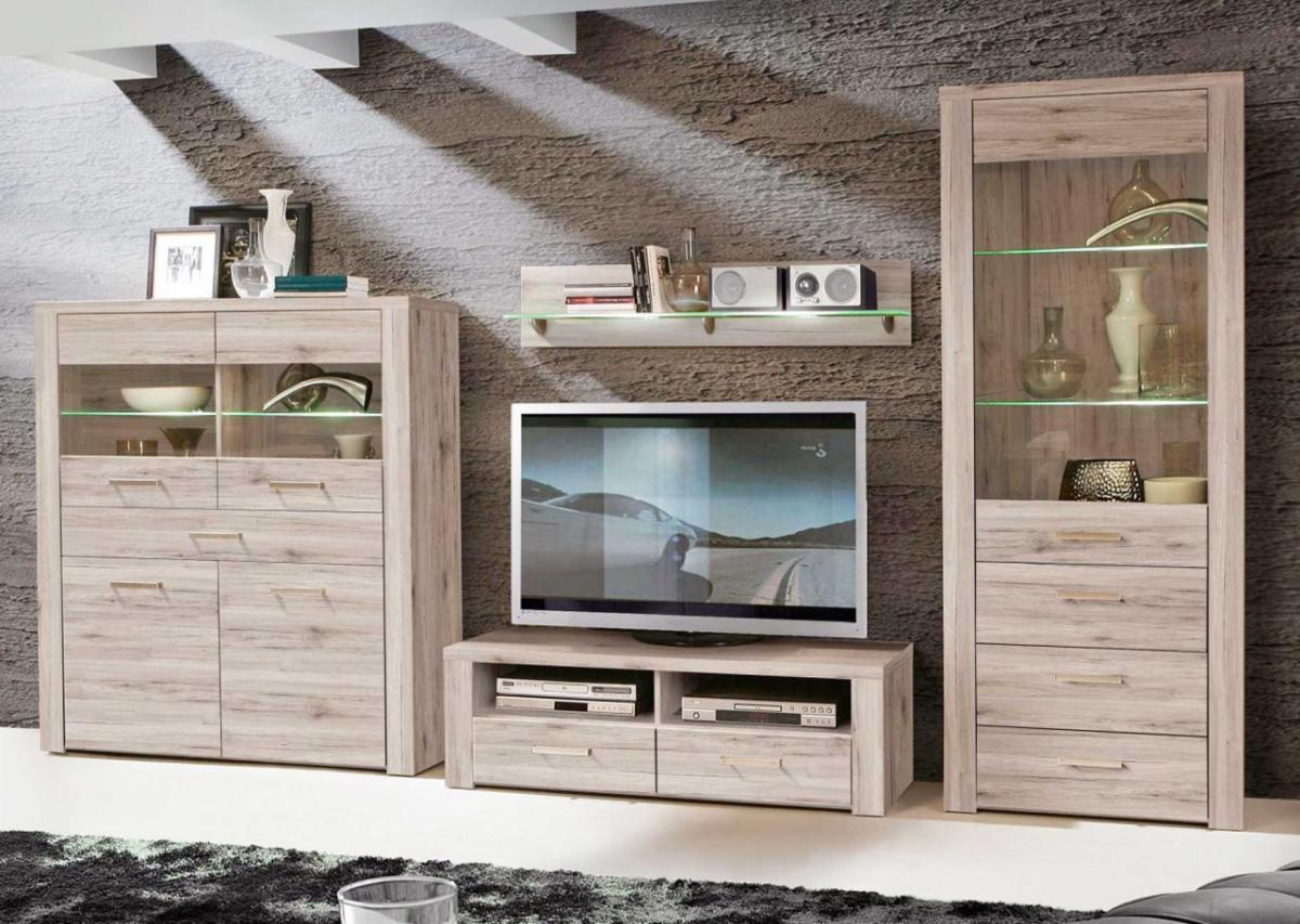 wohnwand wohnkombination portland sandeiche von forte. Black Bedroom Furniture Sets. Home Design Ideas