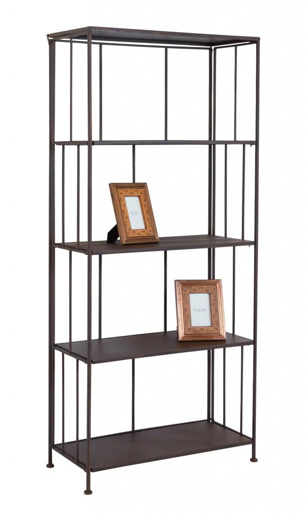 landhaus eisenregal metallregal fioretta 5 f cher antik braun klappbar ebay. Black Bedroom Furniture Sets. Home Design Ideas