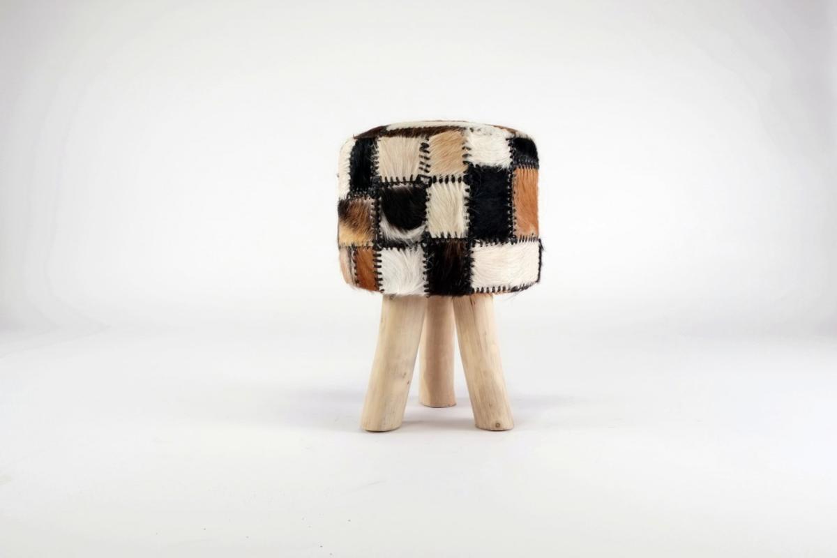 Romanteaka 7995-10 Sitzhocker mit Ziegenfell rund