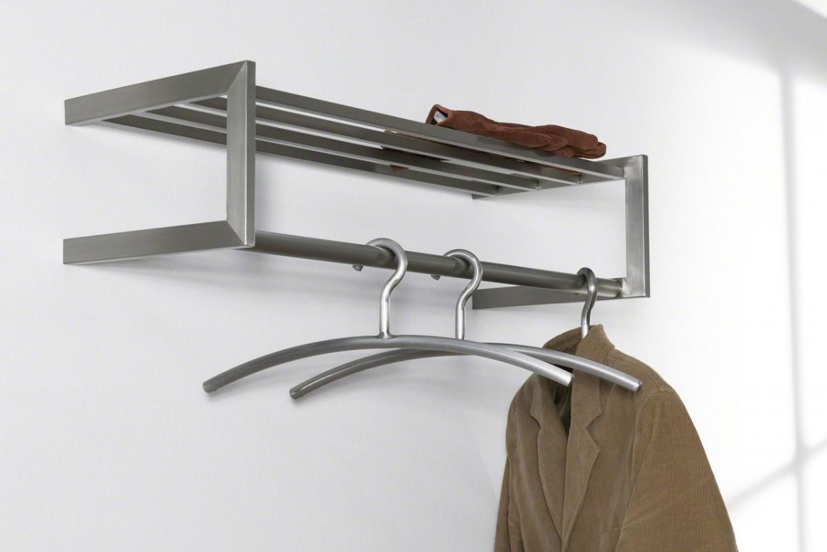 Garderobe wandgarderobe immo 68 edelstahl mit hutablage for Garderobe mit hutablage
