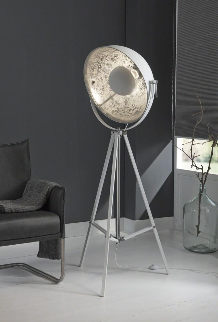 Design xl scheinwerfer stativ stehleuchte schirm stahl wei - Moderne vloerlampen ...