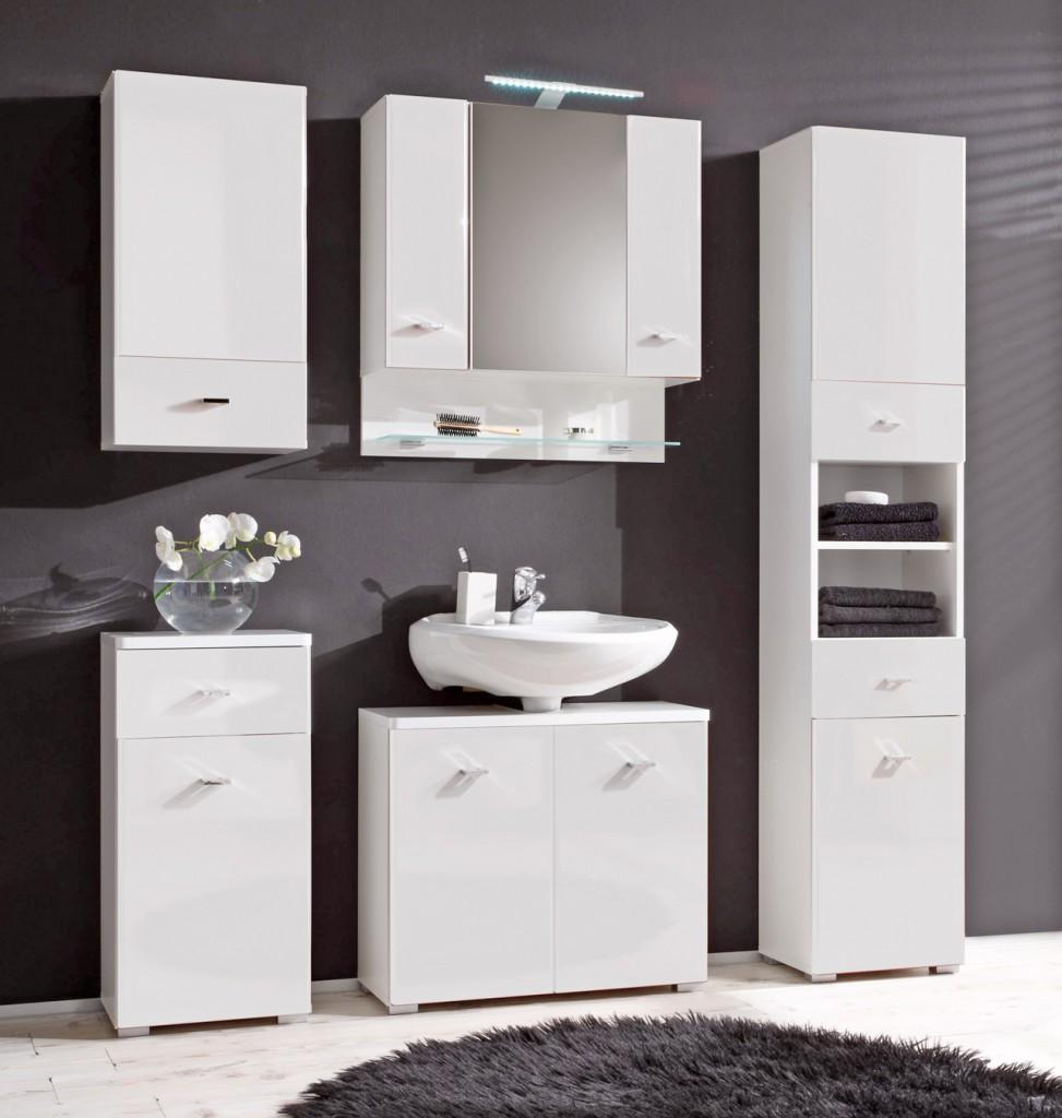 kommode barolo badezimmer unterschrank 1 t re 1 schublade dekor wei. Black Bedroom Furniture Sets. Home Design Ideas