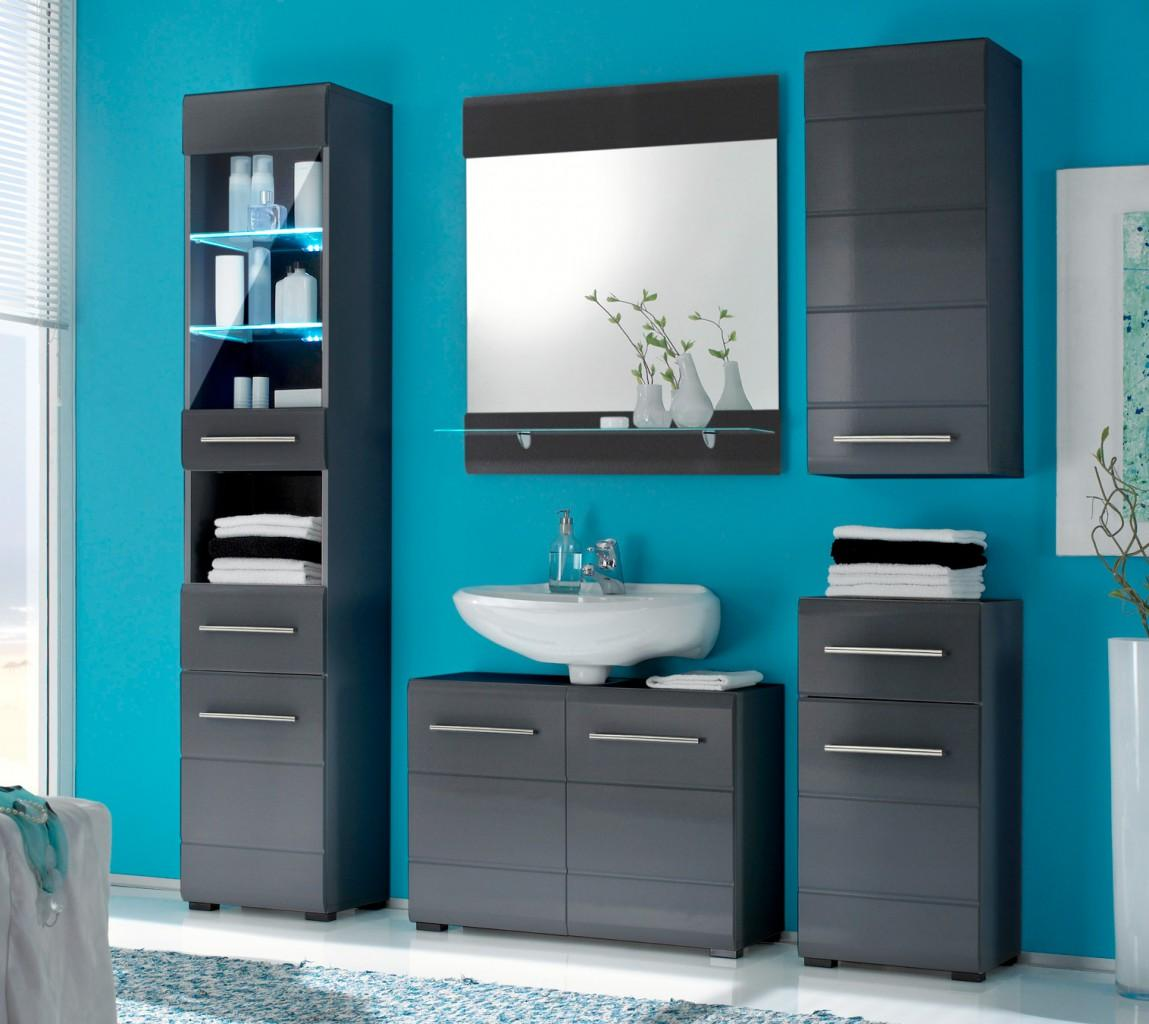 badezimmer chrome 5 tlg badm bel komplett set grau metallic. Black Bedroom Furniture Sets. Home Design Ideas